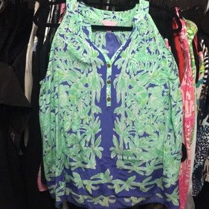 Lilly Pulitzer size large sleeveless silk top NWOT